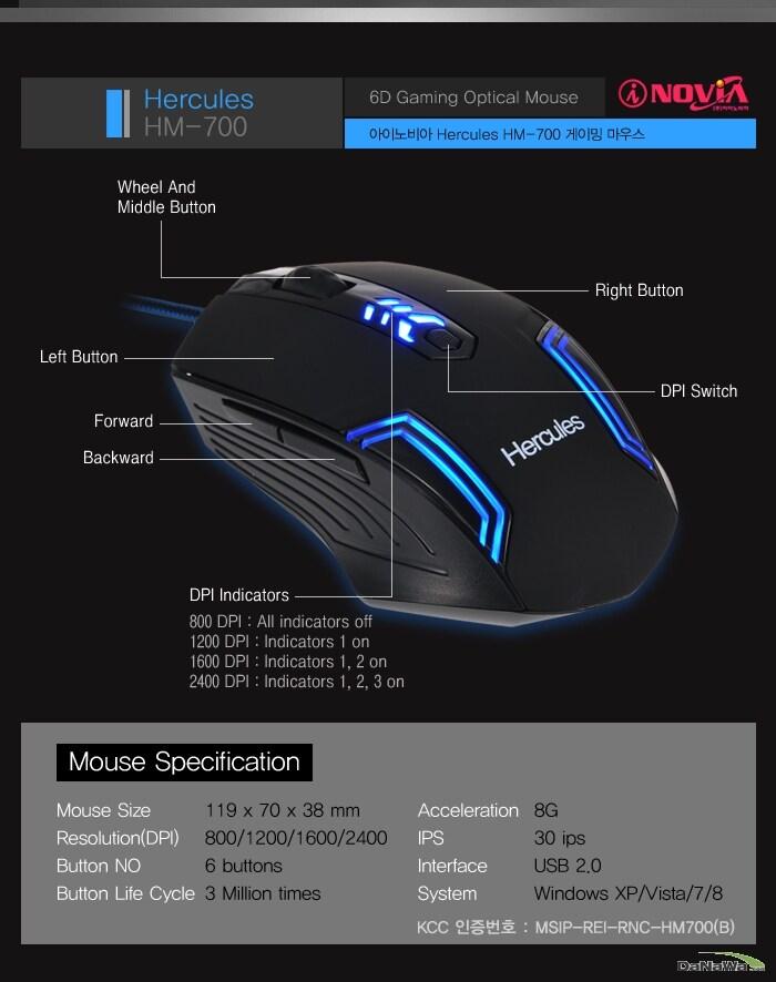 아이노비아 Hercules HM-700 제품 각 부분 명칭 설명 및 스펙표