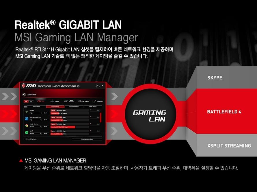 realtek gigabit lan msi gaming lan manager realtek rtl8111H gigabir LAN 칩셋을 탑재하여 빠른 네트워크 환경을 제공하며 MSI Gaming LAN 기술로 렉 없는 쾌적한 게이밍을 즐길 수 있습니다 msi gaming lan manager 게이밍을 우선 순위로 네트워크 할당량을 자동 조절하며 사용자가 트래픽 우선순위 태역폭을 설정할 수 있습니다