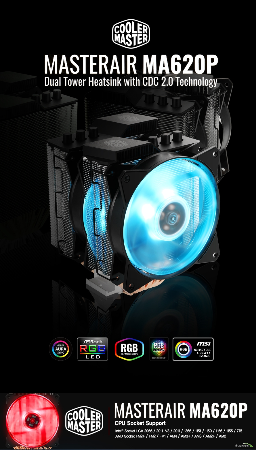 COOLERMASTER HYPER ma620p rgb컨트롤러HYPER ma620p CPU Socket SupportIntel Socket LGA 2066 2011-v3 2011 1366 1151 1150 1155 775AMD Socket FM2+ / FM2 / FM1 / AM4  AM3+ / AM3 / AM2+  AM2