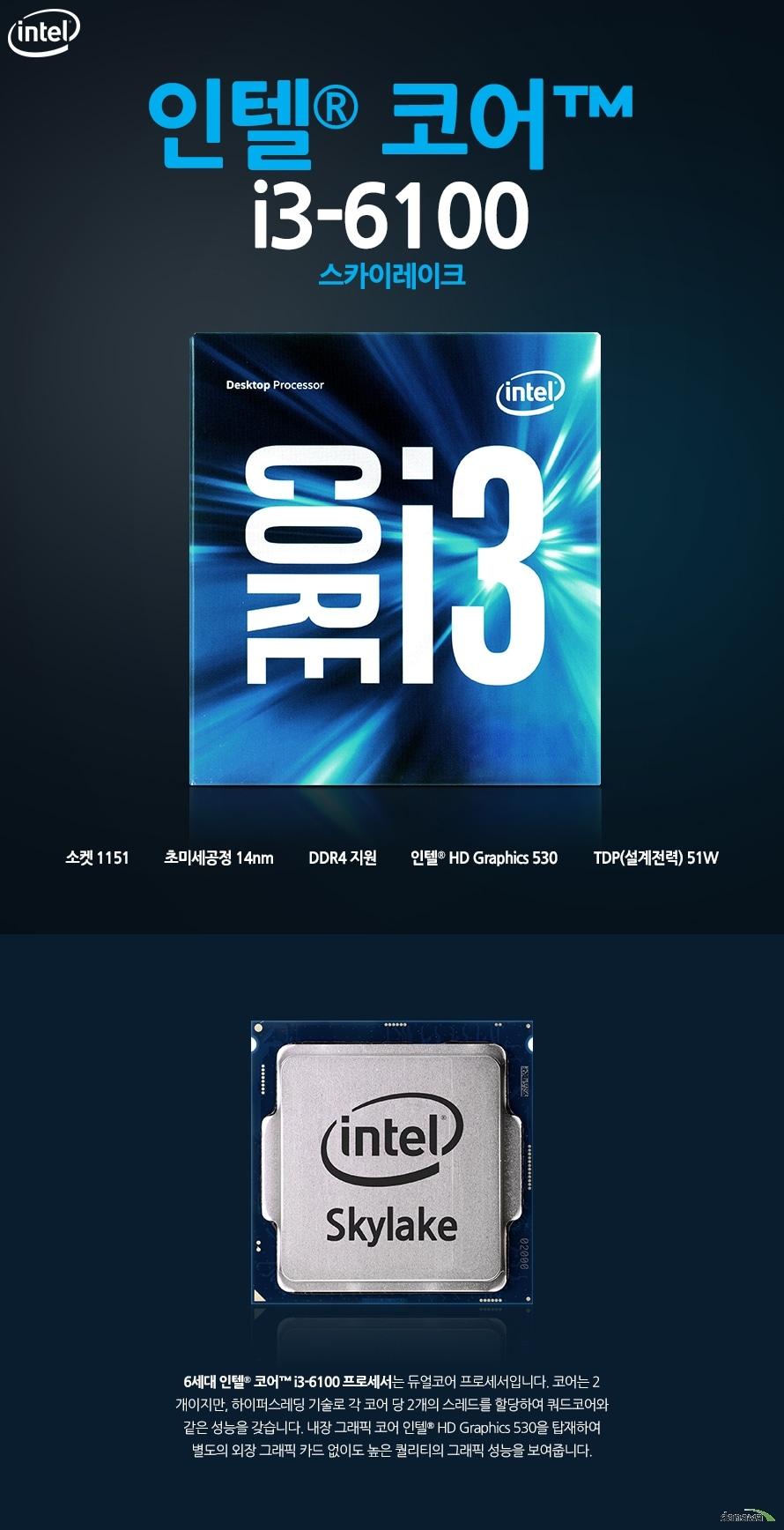 인텔 코어i3-6세대 6100 (스카이레이크)