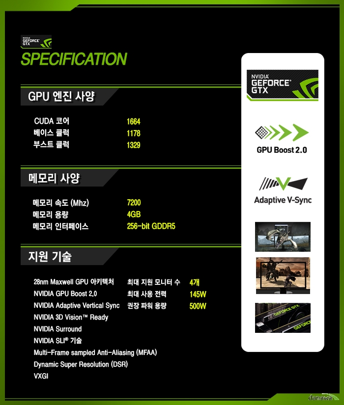 inno3D iChiLL 지포스 GTX970 D5 4GB X4 Air Boss Ultra 제품 스펙