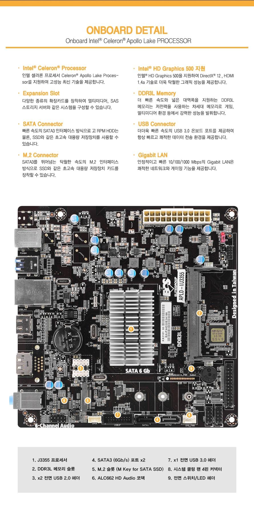 온보드 디테일                인텔 셀러론 프로세서를 지원하여 고성능 최신 기술을 제공합니다.                다양한 종류의 확장 카드를 장착하여 멀티미디어 및 SAS 스토리지 서버와 같은        시스템을 구성할 수 있습니다.                빠른 속도의 SATA3 인터페이스 방식으로 고 RPM HDD는 물론 SSD와 같은 초고속 대용량        저장장치를 사용할 수 있습니다.                SATA3를 뛰어넘는 탁월한 속도의 M.2 인터페이스 방식으로 SSD와 같은 초고속 대용량        저장장치 카드를 장착할 수 있습니다.                 인텔 HD 그래픽스 500을 지원하여 다이렉트 X 12및 HDMI 1.4A 기술로 더욱 탁월한         그래픽 성능을 제공합니다                더 빠른 속도와 넓은 대역폭을 지원하는 DDR3L 메모리는 저전력을 사용하는 차세대        메모리로 게임과 멀티미디어 환경등에서 강력한 성능을 발휘합니다.                더더욱 빠른 속도의 USB3.0 온보드 포트를 제공하여 항상 빠르고 쾌적한 데이터 전송        환경을 제공합니다.                안정적이고 빠른 기가비트 랜은 쾌적한 네트워크와 게이밍 기능을 제공합니다.