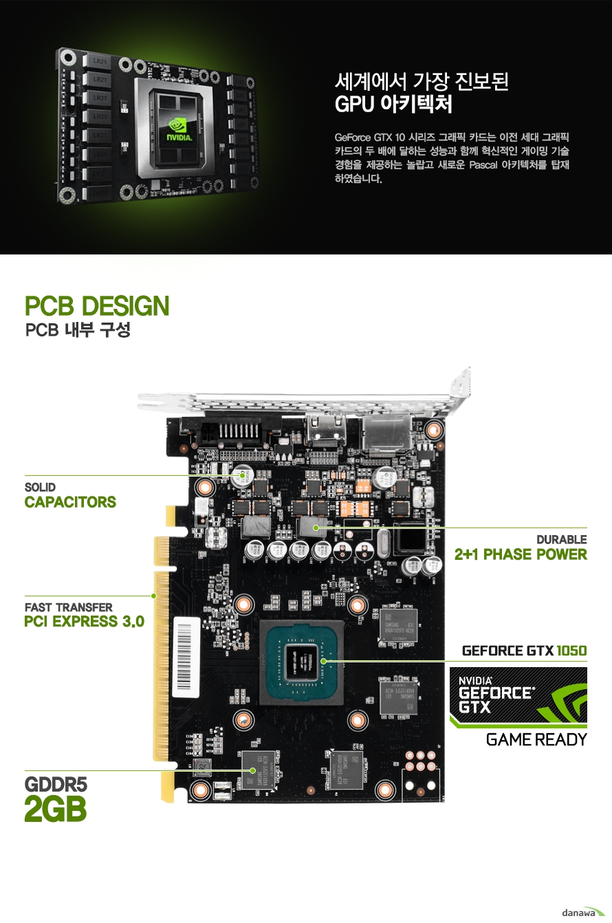 세계에서 가장 진보된 GPU 아키텍처GeForce GTX 10 시리즈 그래픽 카드는 이전 세대 그래픽 카드의 두 배에 달하는 성능과 함께 혁신적인 게이밍 기술  경험을 제공하는 놀랍고 새로운 Pascal 아키텍처를 탑재 하였습니다.PCB DESIGNPCB 내부 구성SOLID CAPACITORSDURABLE 2+1 PHASE POWERFAST TRANSFERPCI EXPRESS 3.0GEFORCE GTX1050NIVIDIA GEFORCE GTXGAME READYGDDR5 2GB