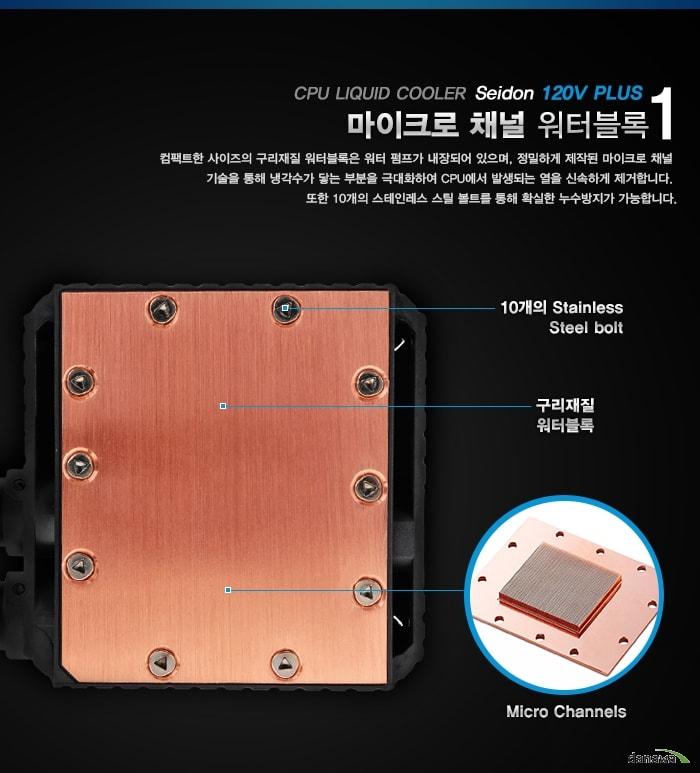 쿨러마스터 Seidon 120V Plus 제품 워터블록 부분 확대 이미지 및 설명
