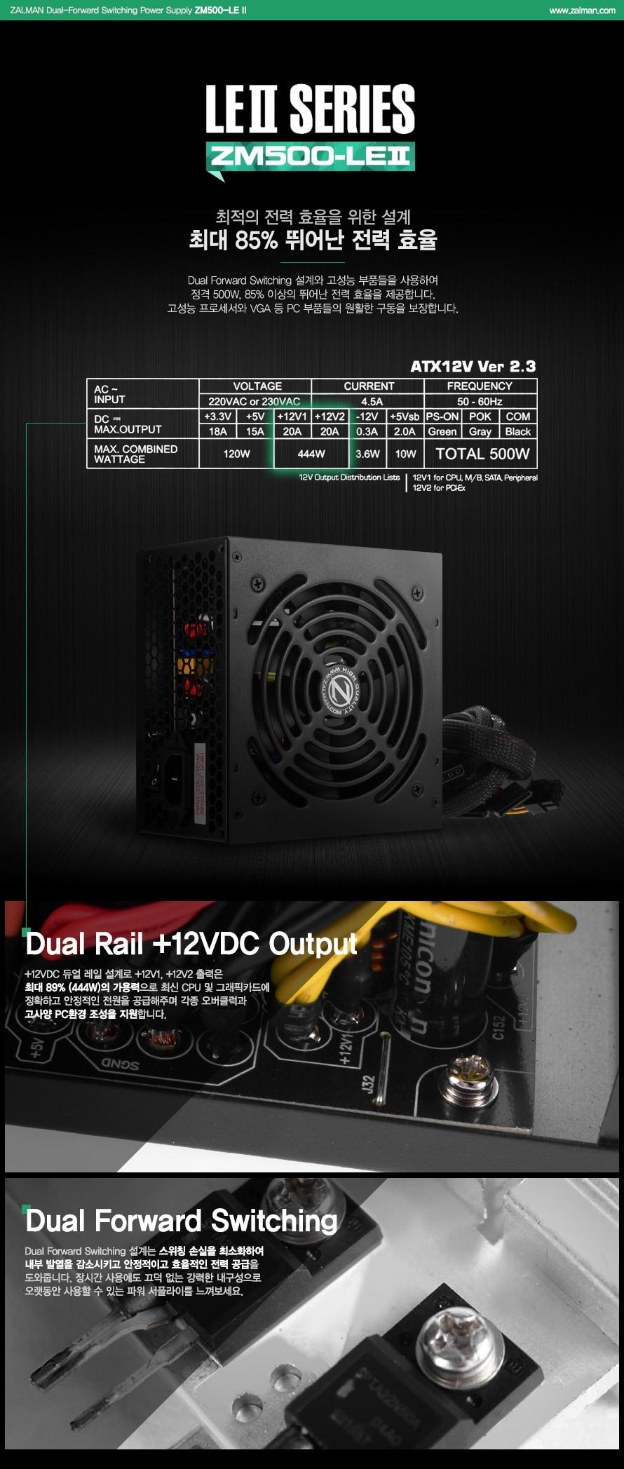 ZALMAN Dual-Forward Switching Power Supply ZM500-LE 2 / www.zalman.co.kr    LE2 SERIES ZM500-LE2    최적의 전력 효율을 위한 설계 최대 85% 뛰어난 전력 효율    Dual Forward Switching 설계와 고성능 부품들을 사용하여 정격 500W, 85% 이상의 뛰어난 전력 효율을 제공합니다. 고성능 프로세서와 VGA등 PC 부품들의 원할한 구동을 보장합니다.    Dual Rail +12VDC Output     _12VDC 듀얼 레일 설계로 +12V1, +12V2 출력은 최대 90% (360W)의 가용력으로 최신 CPU 및 그래픽카드에 정확하고 안정적인 전원을 공급해주며 각종 오버클럭과 고사양 PC환경 조성을 지원합니다.    Dual Forward Switching    Dual Forward Switching 설계는 스위치 손실을 최소화하여 내부 발열을 감소시키고 안정적이며 효율적인 전력 공급을 도와줍니다. 장시간 사용에도 끄덕 없는 강력한 내구성으로 오랫동안 사용할 수 있는 파워 서플라이를 느껴보세요.