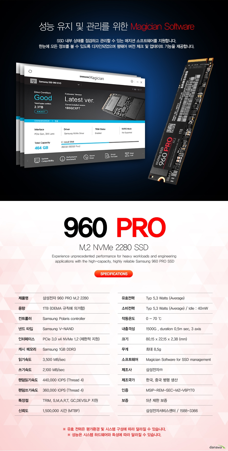 성능 유지 및 관리를 위한 magician software                        ssd내부 상태를 점검하고 관리할 수 있는 매지션 소프트웨어를 지원합니다.            한눈에 모든 정보를 볼 수 있도록 디자인되었으며 펌웨어 버전 체크 및 업데이트             기능을 제공합니다.                        960 PRO M.2 NVME 2280 SSD            SPECIFICATION                        제품명 삼성전자 960 PRO M.2 2280                        용량 1TB (IDEMA 규칙에 의거함)                        컨트롤러 SAMSUNG POLARIS CONTROLLER                        낸드 타입 SAMSUNG V NAND                        인터페이스 PCIE 3.0 X 4 NVME 1.2 (제한적 지원)                        캐시 메모리 SAMSUNG 1GB DDR3                        읽기 속도 3500 mb/s                        쓰기 속도 2100 mb/s                        랜덤 읽기 속도 440000 iops(thread 4)                        랜덤 쓰기 속도 360000 iops(thread 4)                        특장점 trim, s.m.a.r.t, g.c , devslp 지원                        신뢰도 1500000 시간 (mtbf)                        유효전력 typ 5.3 watts(Average)                        소비전력 typ 5.3 watts(Average) idle 40mw                        작동온도 0도에서 70도                        내충격성 1500G duration 0.5m sec 3axis                        크기 80.15 x 22.15x 2.38 mm                        무게 최대 8.5g                        소프트웨어 magician software for ssd management                        제조사 삼성전자                        제조국가 한국, 중국 병행 생산                        인증 msip rem sec mz v6p1T0                        보증 5년 제한 보증                        삼성전자 서비스센터 1588 3366                        유효 전력은 평가환경 및 시스템 구성에 따라 달라질 수 있습니다.            성능은 시스템 하드웨어와 특성에 따라 달라질 수 있습니다.