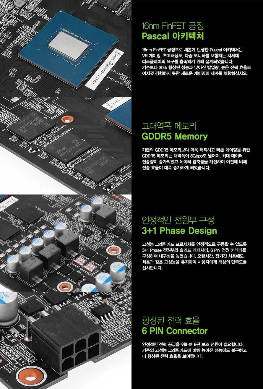 고대역폭 메모리 GDDR5 Memory 기존의 GDDR5 메모리보다 더욱 쾌적하고 빠른 게이밍을 위한 GDDR5 메모리는 대역폭이 8Gbps로 넓어져 최대 데이터 전송량이 증가되었고 데이터 압축률을 개선하여 이전에 비해 전송 효율이 대폭 증가하게 되었습니다 안정적인 전원부 구성 4 Phase Design 고성능 그래픽카드 프로세서를 안정적으로 구동할 수 있도록 4 Phase 전원부와 솔리드 캐패시터 6 PIN 전원 커넥터를 구성하여 내구성을 높였습니다 오랜시간 장기간 사용에도 처음과 같은 고성능을 유지하여 사용자에게 최상의 만족도를 선사합니다