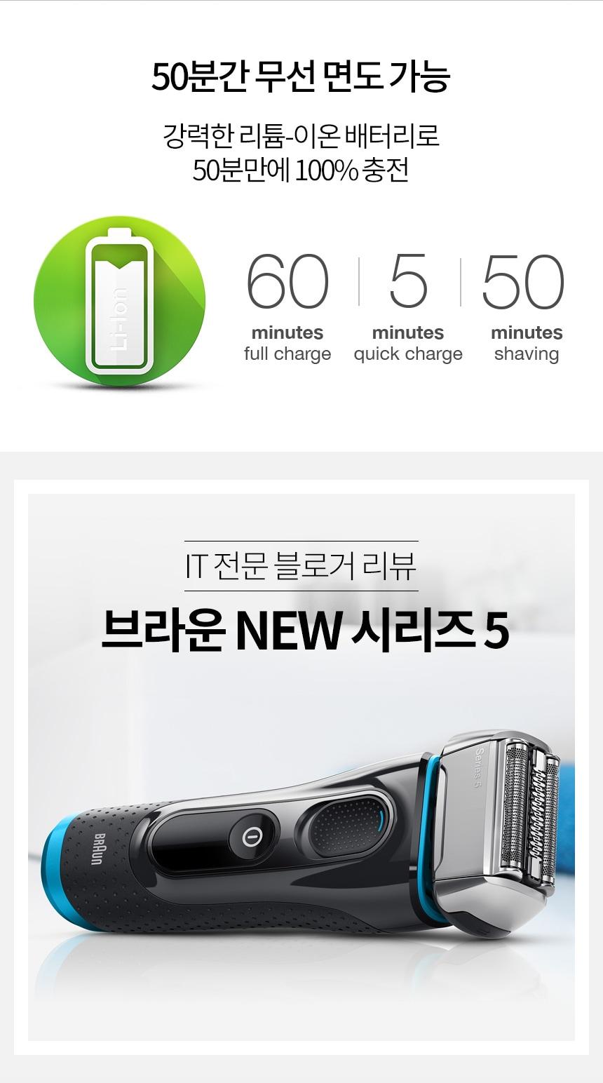 50분간 무선 면도 가능 강력한 리튬 이온 배터리로 50분만에 100% 충전, IT전문 블로거 리뷰 브라운 NEW 시리즈 5