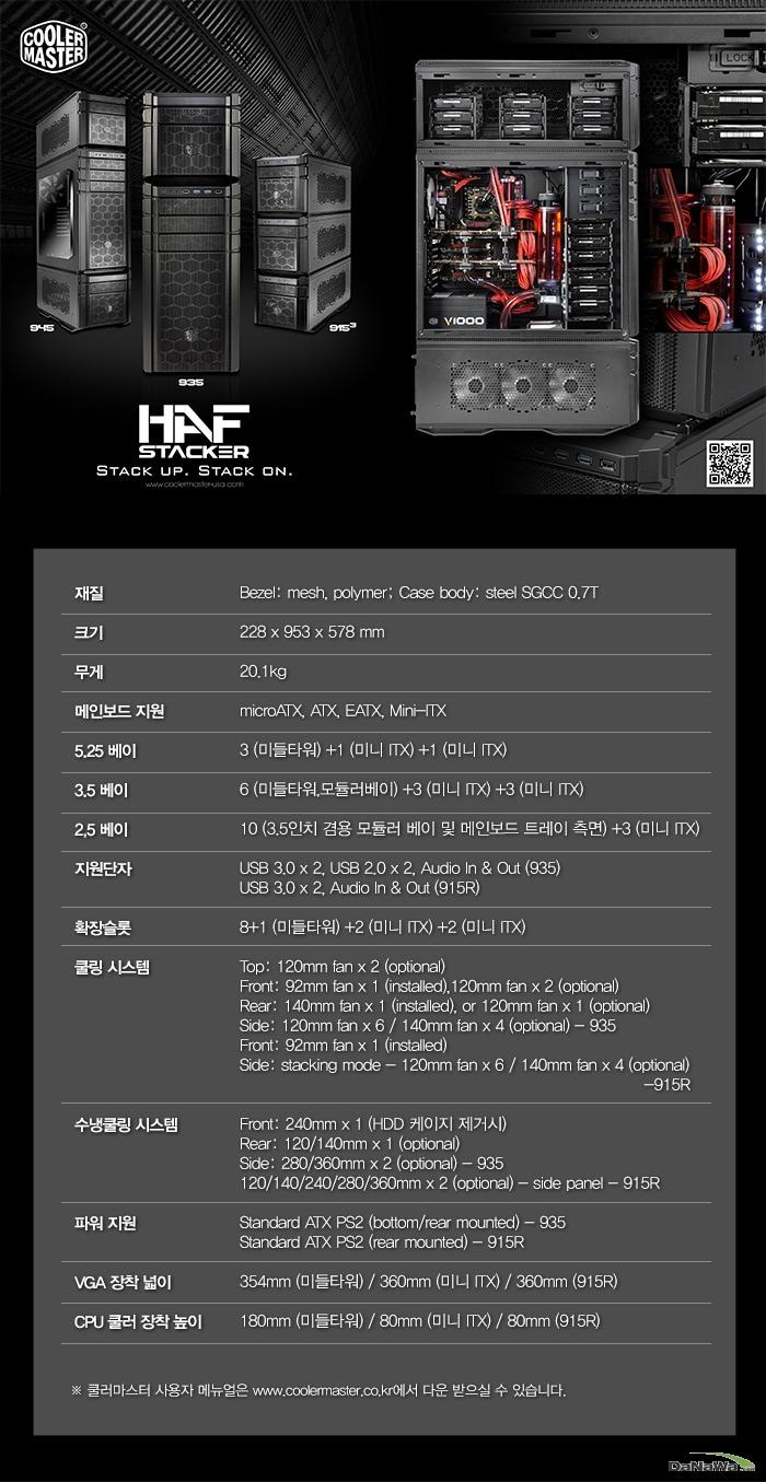 쿨러마스터 HAF STACKER 945R 스펙