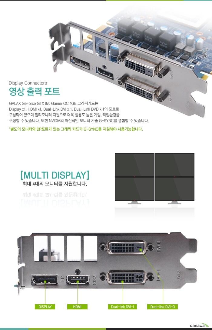 GTX970 Gamer OC 모니터 4대지원, 영상 출력 포트