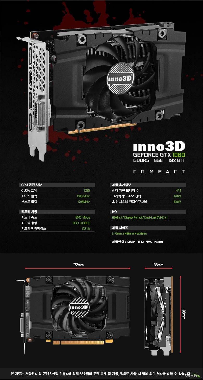 제품사양    GPU 엔진 사양    CUDA 코어1152베이스 클럭1506 MHz부스트 클럭1708MHz메모리 사양메모리 속도8000Mbps메모리 용량6GB GDDR5메모리 인터페이스 192bit제품 추가정보최대 지원 모니터 수  4개그래픽카드 소모 전력  120개최소 시스템 전력요구사항 400WIOHDMI x1 / Display Port x3 / Dual-Link DVI-D x1제품사이즈L172mm x H98mm x W38mm제품인증MSIP-REM-NVA-PG410