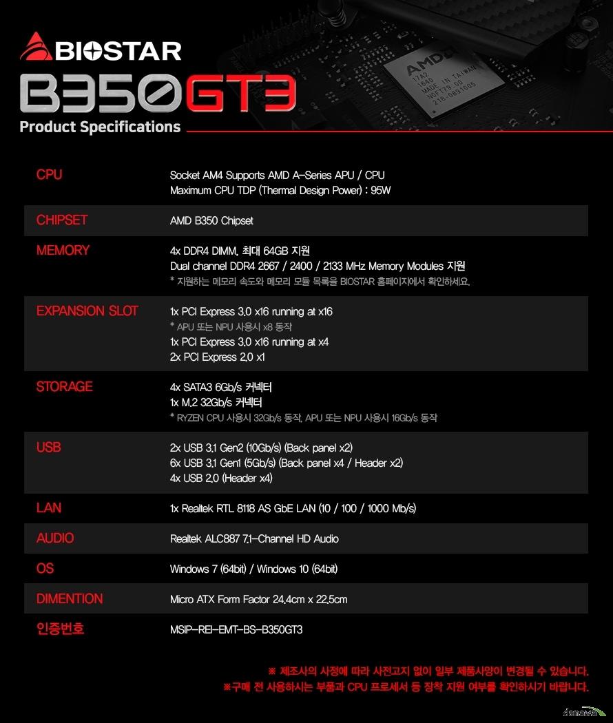 Socket AM4 Supports AMD A-Series APU / CPUAMD B350 Chipset4x DDR4 DIMM, 최대 64GB 지원Dual channel DDR4 2667 / 2400 / 2133 MHz Memory Modules 지원1x PCI Express 3.0 x16 running at x161x PCI Express 3.0 x16 running at x42x PCI Express 2.0 x14x SATA3 6Gb/s 커넥터1x M.2 32Gb/s 커넥터2x USB 3.1 Gen2 (10Gb/s) (Back panel x2)6x USB 3.1 Gen1 (5Gb/s) (Back panel x4 / Header x2)4x USB 2.0 (Header x4)1x Realtek RTL 8118 AS GbE LAN (10 / 100 / 1000 Mb/s)Realtek ALC887 7.1-Channel HD AudioWindows 7 (64bit) / Windows 10 (64bit)Micro ATX Form Factor 24.4cm x 22.5cmMSIP-REI-EMT-BS-B350GT3