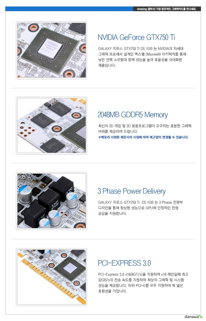 GALAXY 지포스 GTX750 Ti White OC D5 2GB 내부 설명