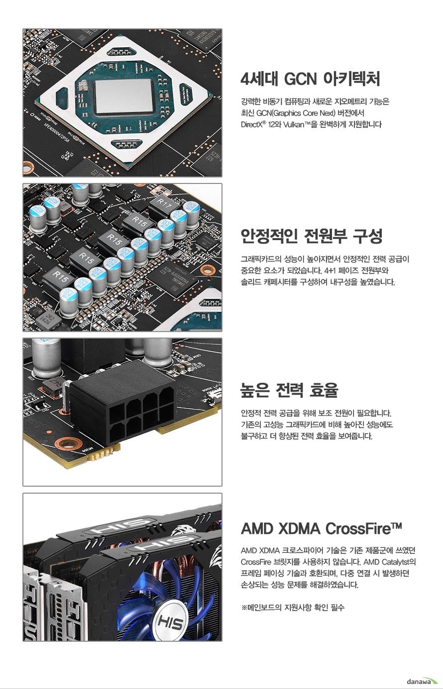 4세대 GCN 아키텍처강력한 비동기 컴퓨팅과 새로운 지오메트리 기능은 최신 GCN(Graphics Core Next) 버전에서 DirectX 12와 Vulkan을 완벽하게 지원합니다안정적인 전원부 구성 그래픽카드의 성능이 높아지면서 안정적인 전력 공급이중요한 요소가 되었습니다. 4+1 페이즈 전원부와 솔리드 캐페시터를 구성하여 내구성을 높였습니다.     높은 전력 효율안정적 전력 공급을 위해 보조 전원이 필요합니다. 기존의 고성능 그래픽카드에 비해 높아진 성능에도 불구하고 더 향상된 전력 효율을 보여줍니다.  AMD XDMA CrossFire AMD XDMA 크로스파이어 기술은 기존 제품군에 쓰였던 CrossFire 브릿지를 사용하지 않습니다. AMD Catalytst의프레임 페이싱 기술과 호환되며, 다중 연결 시 발생하던 손상되는 성능 문제를 해결하였습니다. 메인보드의 지원사항 확인 필수