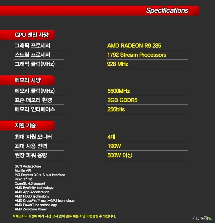 SAPPHIRE 라데온 R9 285 ITX Compact OC Edition D5 2GB 세부 사양 정보 이미지