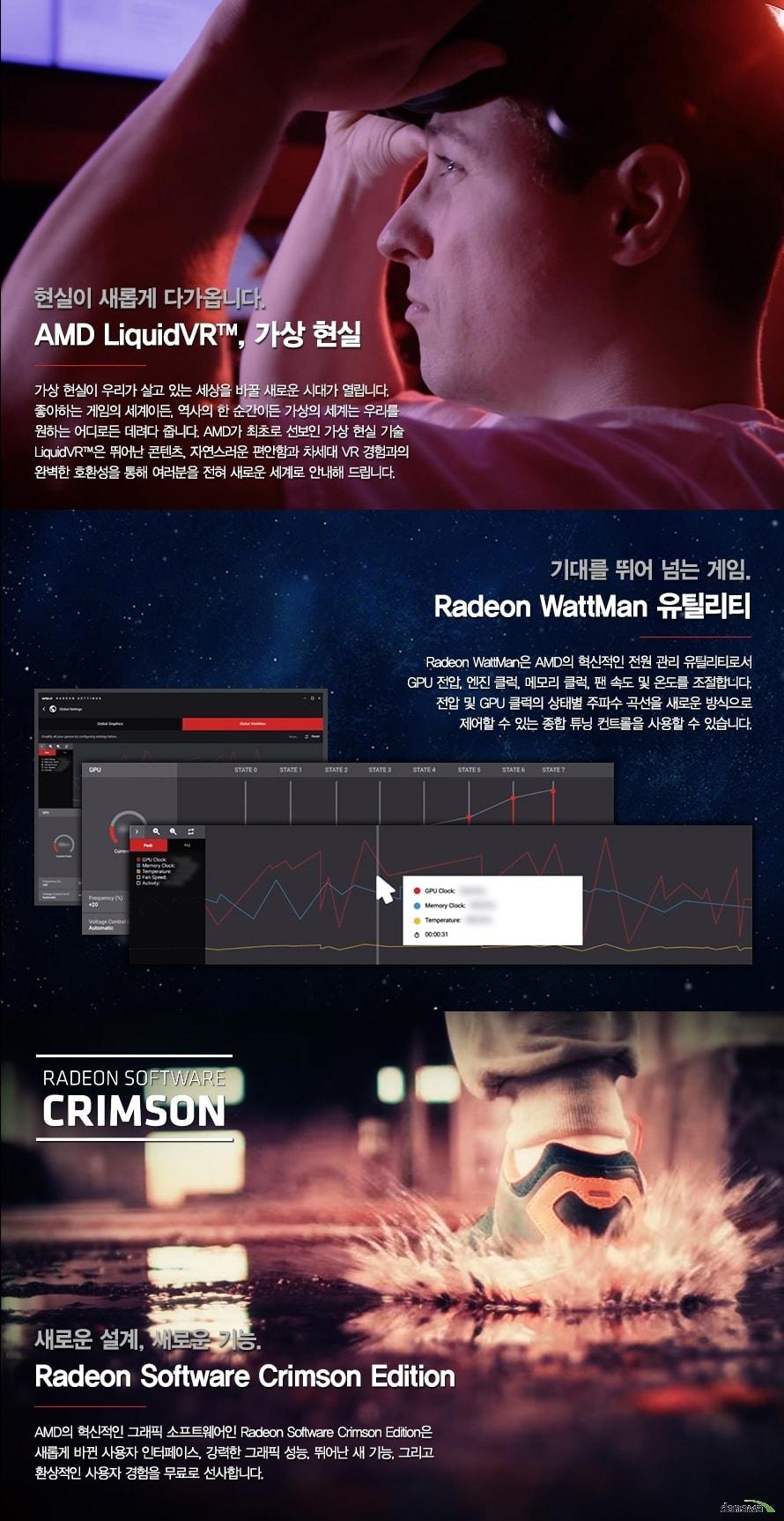 가상현실 VR 게이밍, 라데온 와트맨 유틸리티, 라데온 소프트웨어 크림슨 에디션 지원