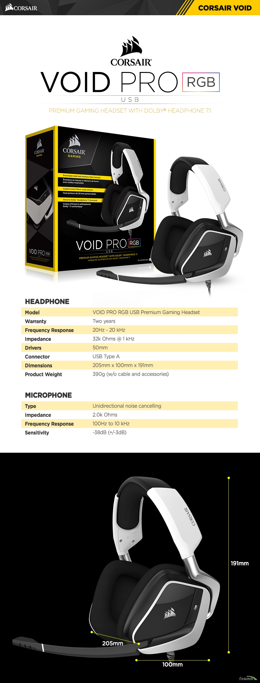 HEADPHONEModelVOID PRO RGB USB Premium Gaming HeadsetWarrantyTwo yearsFrequency Response20Hz - 20 kHzImpedance32k Ohms @ 1 kHzDrivers50mmConnectorUSB Type ADimensions205mm x 100mm x 191mmProduct Weight390g (w/o cable and accessories)MICROPHONETypeUnidirectional noise cancellingImpedance2.0k OhmsFrequency Response100Hz to 10 kHzSensitivity-38dB (+/-3dB)